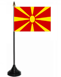 Macedonia Desk / Table Flag with plastic stand and base.